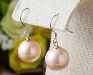 Sterling Silver 6-12mm Natural Sea Shell Pearl CZ Hook Drop Dangle Stud Earrings