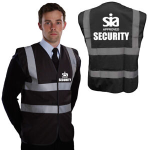 Black Security Hi Vis SIA APPROVED Vest High Visibility Reflective Waistcoat
