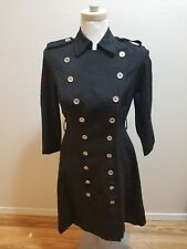 Calvin Klein Women's Double Breasted Military Coat Jacket Black Skater Flared 2