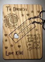 Personalised Wooden Game Of Thrones Anniversary Birthday Card Removable Keyrings