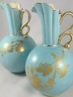 Antique Porcelain Gold Guild Blue Ball Vases/ Ewers