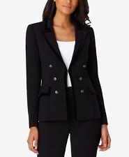 Tahari Asl Petite Velvet-Trim Jacket Black Size 8P NWT ($149)