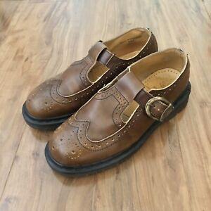 Vintage Dr. Martens 8142 Brown Buckle Wingtip Mary Jane Wmns Shoes US 8 / UK 6