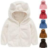Kids Baby Girls Fleece Hooded Hoodies Coat Jacket Bear Ear Winter Zipper Outwear
