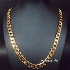 """Men's 24KGL Yellow Gold Filled 27"""" Chain Link Curb Necklace S18-n"""