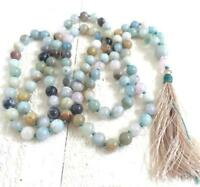 Mala Hot spirituality kont Amazonite 8MM 108 Necklace tassel Chakas Wrist men