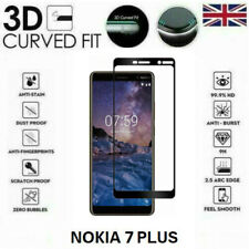 For Nokia 7 Plus 2018 Full 3D Tempered Glass 9H Screen Protector Black / Clear