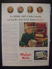 RARE VINTAGE ~1947 OLYMPIC RADIO RECORD PLAYER PHONOGRAPH ART PRINT AD~ ANTIQUE