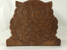 Vintage Owl Napkin Holder Wood Carved  Mail Holder Desktop Organize