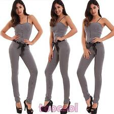 Overall woman entire jumpsuit check skinny zip stretch hot new CR-2536