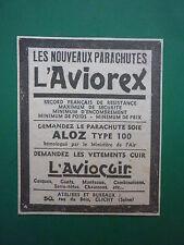 10/1934 PUB PARACHUTE SOIE ALOZ TYPE 100 AVIOCUIR CASQUE GANTS PILOTE CLICHY AD