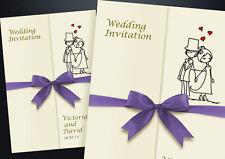 85 PERSONALISED GATEFOLD WEDDING INVITATIONS INCLUDING CHOICE OF RIBBON & ENVS