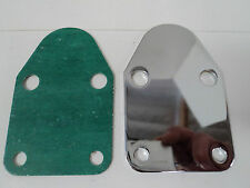 SBC Chrome Fuel Pump Block Off Plate With Gasket 283 327 350 383 400 SB Chevy