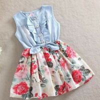 Summer Infant Kids Flower Girls Princess Denim Dress Bridal Party Sundress 2-8T