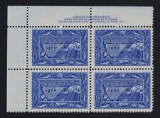 Canada Sc #302 (1951) $1 Fishing Resources UL Plate Block Mint VF NH