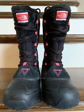 The North Face Heat Seeker boots 200g Insulated Waterproof Girls Sz 3 Black/Pink