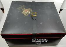 Vintage Empty Resistol Hat Box w/ Fleur de Lis & Black Buckle 14 x13 x 6 inches