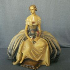Huge Vintage Guido Cacciapuoti Porcelain Figurine Girl with Flowers Bouquet
