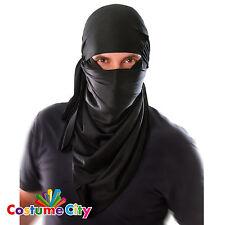 Adults Mens Black Ninja Warrior Hood Fancy Dress Party Mask Costume Accessory