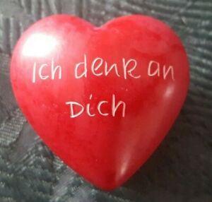 Speckstein rotes Herz Ich denk an Dich Geschenk Valentin