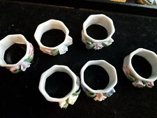 "Set of 6 White Porcelain Ceramic Napkin Rings Holders Floral 2""d"