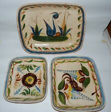 3 Tlaquepaque Or Tonala Graduated Trays Or Low Bowls, Old Mexico, Jalisco.