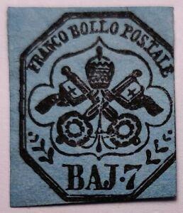 Papal states RARE 1852 7b Mint + Light Gum (€5,000 with gum). Looks re-gummed
