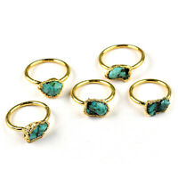 Natural Turquoise 24k Gold Plated Antique Fashion Design Stackable Gemstone Ring