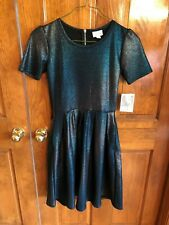 LulaRoe Elegant Amelia Teal Blue Mermaid Shimmer Dress XS