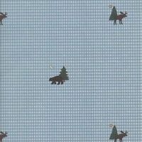 Blue Gingham With Bear, Moose & Trees Wallpaper 30991620