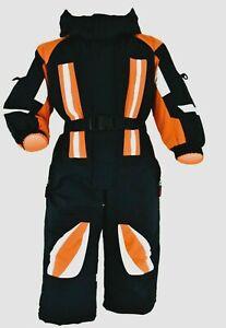 Schneeoverall   Jungen oder Mädchen Sport 98 -146 Schwarz/Orange Neu