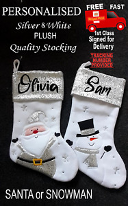 Silver Personalised or Plain Fully Lined Santa / Snowman Christmas stocking XMAS