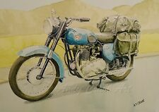 BSA Blue A10 Golden Flash PRINT from my Original Watercolour Painting