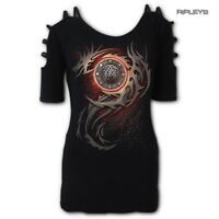 Spiral Direct Ladies Black Goth Top Tribal DRAGON Eye Straps Shoulder All Sizes