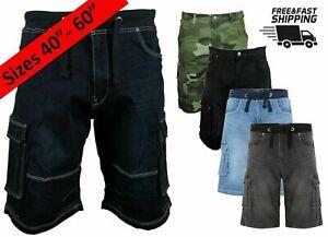 Mens King Size Cargo Denim Shorts Big & Tall Knee Length Casual Jeans Half Pants