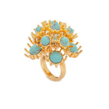 Anthropologie Lele Sadoughi Dandelion Blue Ring Dyed Turqouise Howlite Stone 7