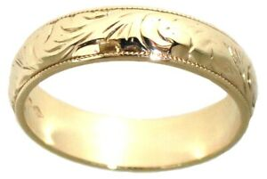 9Carat yellow gold engraved pattern wedding band rings D profile size W1/2 6.4gm