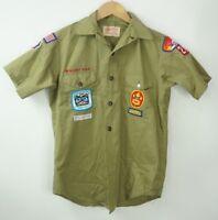 Vtg 80s Official Boys Green Boy Scouts Uniform Shirt Youth Medium w/ Shorts