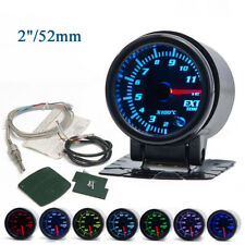 "Universal 2""/52mm 7 Color LED Car Auto Exhaust Gas Temp Gauge Ext Temp Meter EGT"