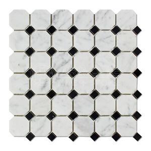 Carrara White Italian (Bianco Carrara) Marble Octagon Mosaic Tile