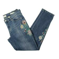 Jessica Simpson Womens Blue Embroidered Faded Skinny Jeans 27 BHFO 1658