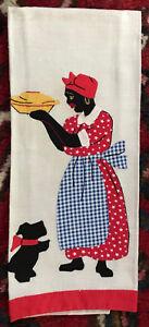 Vintage Linen Tea Towel Black Americana~ Hand Applique & Embroidered Scottie Dog