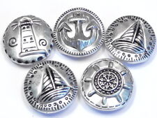 5 - 2 HOLE SLIDER BEADS SILVER PLATED SHIPS WHEEL ANCHOR LIGHTHOUSE SAIL BOAT