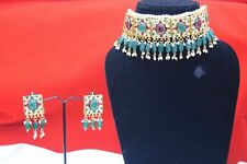 Pakistani Meenakari Kundan Choker Necklace Set Bollywood Indian Bridal Jewelry