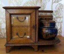 More details for edwardian oak smokers cabinet, bevelled glass, original tobacco jar, reg 367818