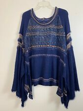 Free People Oversized Sweater SIZE MEDIUM Bell Sleeve Blue Bohemian Boho Sweater