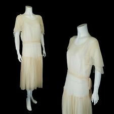 Vintage 1920s Chiffon Dress with Flutter Sleeves Wedding Bridal Size M-L
