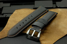 22mm Black Brown Diver Kevlar Leather Watch Strap+PVD Buckle for Panerai Watch