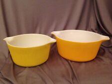 Pyrex Stacking Cinderella Casserole Dish Set # 473 474 1950s Vintage Solid Daisy
