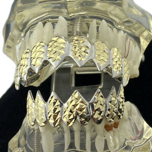 Shark Teeth Grillz Set Diamond Cut 8 Top & Eight Bottom Mouth Grills 2 Two Tone